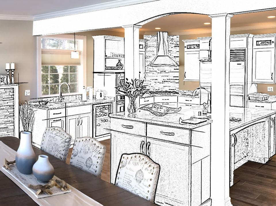 Artist rendering of a kitchen remodel project in Wisconsin
